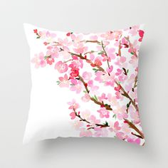 decorative pillow cover- home decor- photo pillow- nature photo- pink flowers- white-spring-feminine decor-pretty pillow Cute Pillows, Diy Pillows, Decorative Pillows, Throw Pillows, Hand Painted Dress, Painted Clothes, Feminine Decor, Cushion Cover Designs, Fabric Painting