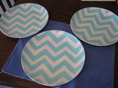 Chevron painted plates