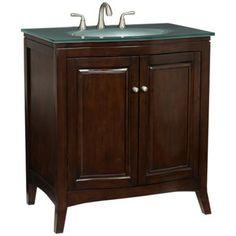 Espresso Wood with Glass Top Bathroom Vanity Sink   LampsPlus.com