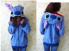 2014 New Stitch Hoodie Costume Ears Face Tail Zip Hoody Sweatshirt Costume,S-XXL