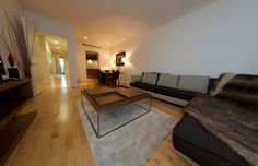 Lovely spacious living room at ISIS Discovery Dock in Canary Wharf. How comfortable does that sofa look?
