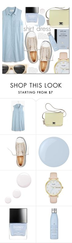 """""""Shirt Dress"""" by dian-lado ❤ liked on Polyvore featuring Madewell, Jack Purcell, Essie, Topshop, Kate Spade, Butter London, Drybar, Illesteva and shirtdress"""