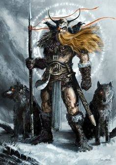 Odin, the Norse god of wisdom. war and magic, is called Allfather for he is indeed Father of the Gods and he played a central role in myths about the creation and destruction of the world.    In the beginning, he killed the primal frost giant Ymir and from his bones formed our universe. He arranged the heavens for the gods, the middle world for humans and dwarfs, and the underworld for the dead. Finally he created the first man and woman from an ash tree and an elm tree.