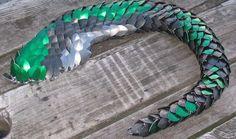 green dragon scales alluminium | dragon tail green diamonds by DracoLoricatus