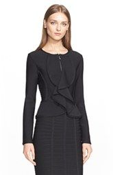 NEW! Herve Leger Ruffle Front Knit Jacket $840.00