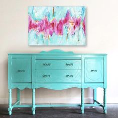 blue turquoise small sideboard solid wood dresser long dresser upcycled #paintedfurniture #affiliate #furniture
