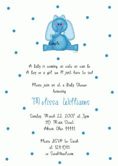Elephant Baby Shower Invitation (Birthday)