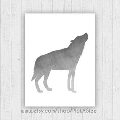 Large Gray Wolf print. Silhouette textured grey and by PickaSize