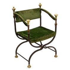 Italian Wrought Iron and Brass Savonarola Chair