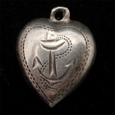 Puffy Heart Charm Vintage Sterling Silver Hand-Engraved Anchor Nautical Jewelry, Hand Engraving, Heart Charm, Vintage Antiques, Charmed, Christmas Ornaments, Sterling Silver, Anchor, Hearts
