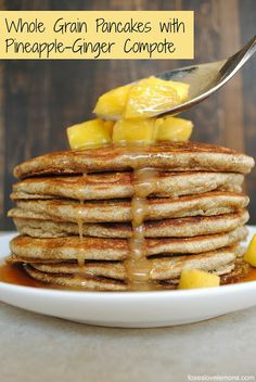 Whole Grain Pancakes with Pineapple-Ginger Compote (made with cornmeal, buckwheat flour, brown rice flour and all purpose flour - can use GF flour instead) - Foxes Love Lemons