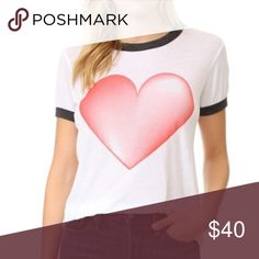 """NWT WILDFOX  Heart Ringer Tee Details - Faded Red Heart - Black Ribbing around Neckline and Sleeves - Size S -  Approx. 24"""" from Top to Bottom of Hem, 19"""" pit to pit - NWT, Retails $64 (Made in USA)  Fiber Content: 50% Poly, 50% Cotton (Tissue Feel) Wildfox Tops Tees - Short Sleeve"""
