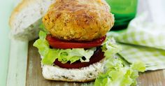 Chickpea & vegie burgers - for a brilliant lunch idea try our healthy c Burger Recipes, Veggie Recipes, Vegetarian Recipes, Healthy Recipes, Vegetarian Protein, Veggie Meals, Savoury Recipes, Clean Recipes, Clean Eating
