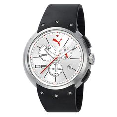 Puma Men's Hero L Chronograph Watch In Silver And White - Puma offers weekend adventurers a quality piece that can be comfortably worn to the office Sunday - Friday