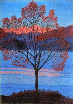 """igormaglica: """" Luigi Russolo (1885-1947), Lo stesso paesaggio ai primi raggi di sole / The same landscape at the first rays of sun, 1940. olio su tavola, 40,5 x 28,5 cm """""""