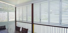 We supply & install high quality Indoor, Outdoor Shutters & Blinds in Brisbane including Plantation Shutters, Venetian, Roller & Automatic Blinds & much more. White Shutters, House Shutters, Porch Privacy, Interior And Exterior Angles, Outdoor Shutters, Front Verandah, Interior Sliding Barn Doors, Queenslander, Green Rooms