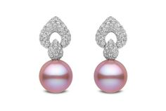 Yoko London for Ritani Pink Pearl and Diamond Drop Earrings - in 18kt White Gold - (2.25 CTW)