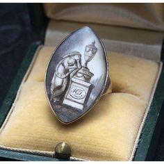 Georgian Sepia Miniature Mourning Ring for Henry Tarlton, 12k rose gold, ivory, c. 1784.