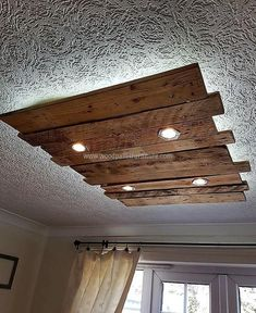 recycled pallet roof lighting #WoodenLamp