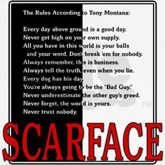 Rules of comedy and in life. Gangster Quotes, Badass Quotes, Awesome Quotes, Words Quotes, Life Quotes, Sayings, Real Quotes, Scarface Quotes, Manolo Escobar