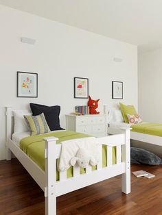 Modern Kids Furniture Inside Bedroom Near Clear Beds Along With Clear Cabinets On Hardwood Floor