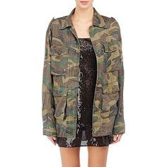 Saint Laurent Women's Camouflage Oversized Military Jacket Size ($1,350) ❤ liked on Polyvore featuring outerwear, jackets, green, oversized camo jacket, army jacket, green military jacket, military jacket and camoflauge jacket
