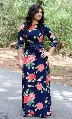 Natsu is a classy navy sleeve satin maxi dress with bold floral print and matching ribbon belt Skirt Outfits Modest, Modest Maxi Dress, Dress Outfits, Kimono Fashion, Modest Fashion, Fashion Dresses, Beautiful Maxi Dresses, Cute Dresses, Church Dresses