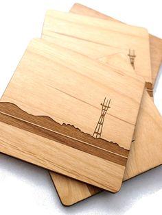 San Francisco Sutro Skyline - Regular, Laser Cut Alder Wood Coasters, Set of 4. $38.00, via Etsy.