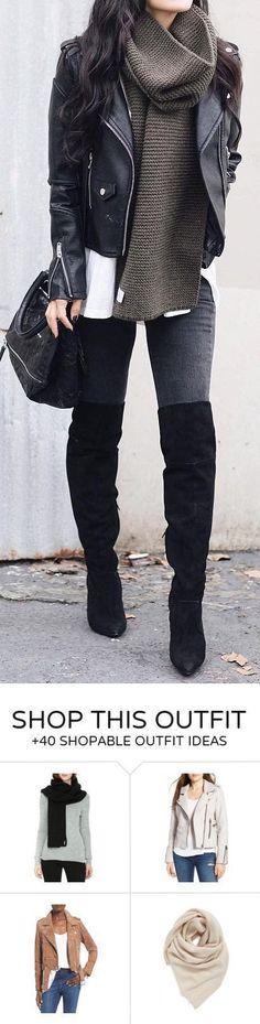 Black Biker Jacket / Green Scarf / Dark Skinny Jeans / Black OTK Boots #beautyfashion