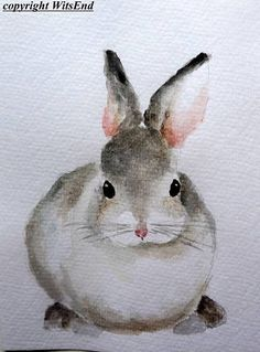 Bunny watercolor painting Grey baby rabbit Nursery art Spring