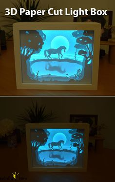 Basically, this light box consists of paper cut outs layered on each other in a box with a glass panel. LED lights are placed behind all the layers, which makes each layer glow, giving this 3D look.