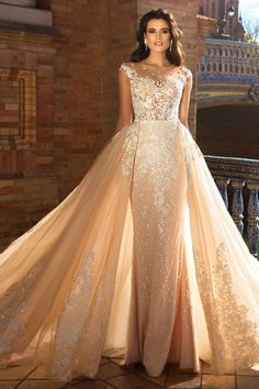 crystal design 2017 bridal cap sleeves jewel neckline heavily embroidered bodice princess elegant ivory color detachable skirt sheath wedding dress a line overskirt low back long train (odri) mv -- Romantic 2017 Wedding Dresses 2 In 1 Wedding Dress, Elegant Wedding Dress, Colored Wedding Dresses, Designer Wedding Dresses, Bridal Dresses, Wedding Gowns, Tulle Wedding, Wedding Dress Detachable Train, Trendy Wedding
