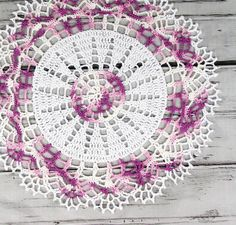 Crocheted Shaded Purple Variegated Multi Color Doily