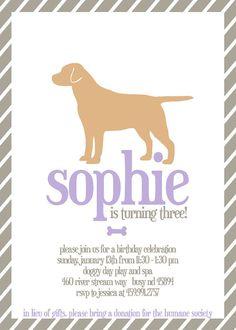 Printable Girl Dog Birthday Party Invitation By Jlcprintables Boy Invitations Invites Parties