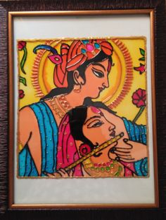 A glass painting of radha krushna