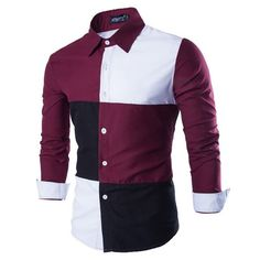 New Spring Fall Leisure Style Contract Color Collar Long Sleeve Striped Shirt High Quality Men Slim Fit Casual Dress Shirts