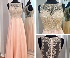 Pink chiffon and tulle gown with sequins and lace embellishments.
