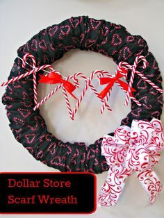 Scarf Covered Christmas Wreath