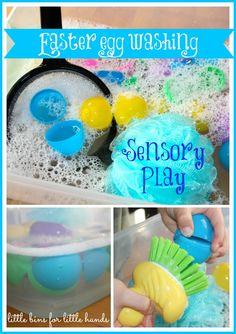 Simple, fun Easter sensory bin for toddlers.