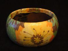 Tropical Floral Decoupage Bracelet. $20.00, via Etsy.