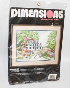 Dimensions Spring Inn Stamped Cross Stitch #3097 - New old stock Sealed 16x12