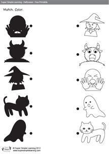 Halloween Shadow Match from Super Simple Learning Theme Halloween, Diy Halloween Costumes, Halloween 2017, Holidays Halloween, Halloween Kids, Halloween Crafts, Costume Ideas, Halloween Worksheets, Bricolage Halloween