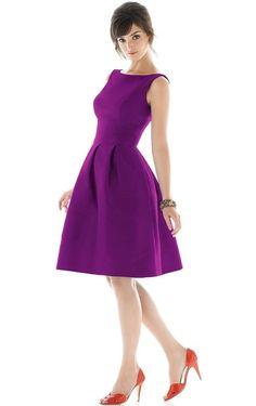 Bateau Backless Rengency A Line Satin Short Bridesmaid Dresses UK - £ 56.65 - Lisadress.co.uk