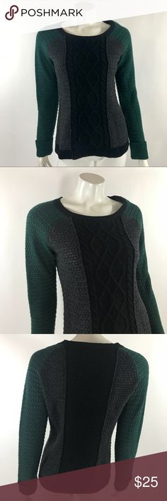 Cynthia Rowley Cable Knit Sweater Med Green Gray Cynthia Rowley Womens Cable Knit Sweater Medium Wool Blend Green Gray Colorblock. Measurements: (in inches) Underarm to underarm: 19 in Length: 26 in  Good, gently used condition Cynthia Rowley Sweaters Crew & Scoop Necks