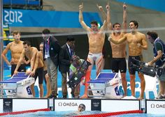 LONDON, ENGLAND - JULY 31:  Michael Phelps of the United States celebrates with teammates Conor Dwyer, Ryan Lochte and Ricky Berens after winning the gold in the Men's 4 x 200m Freestyle Relay final on Day 4 of the London 2012 Olympic Games at the Aquatics Centre on July 31, 2012 in London, England.