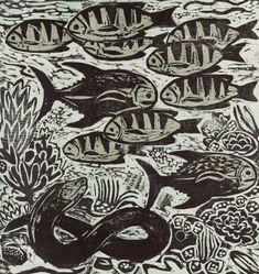 Fish in aquarium by Kent Ambler. Beautiful Woodcut