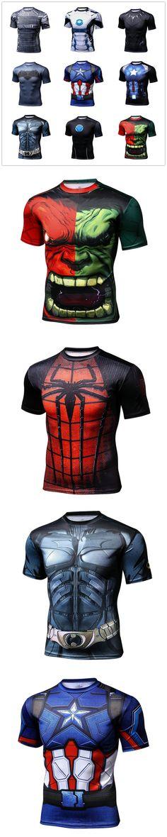 Captain America Superman 3D T Shirt Short Sleeve Compression Shirt Quick Dry Tights High Elastic Mens Clothing Poleras Hombre