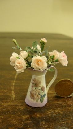 Miniature jug with pink roses. €30.00, via Etsy.
