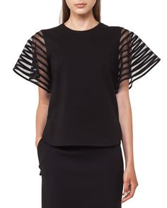 Striped Tulle Wing-Sleeve Top by Akris punto at Bergdorf Goodman.