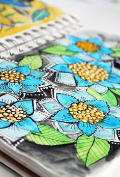 """Alisa Burke: She has wonderful colorful florals and graphic type watercolors in her sketchbook.  View many of her pages in the """"peek at my sketchbook"""" section of her blog."""